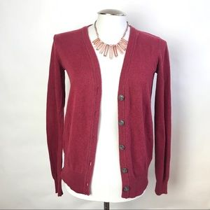 Anthro BDG Red Brown Button Up Cardigan
